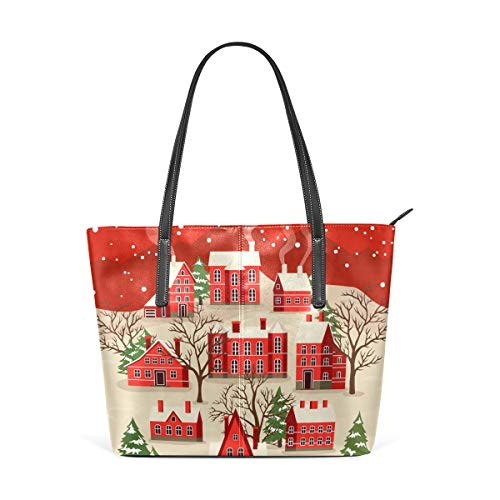 Sac à main Shopping Sacs à main Sacs à bandoulière Vintage en cuir Bonne année Voeux Joyeux Noël Art pour femmes filles dames étudiant étudiant poids léger sangle fourre-tout sac