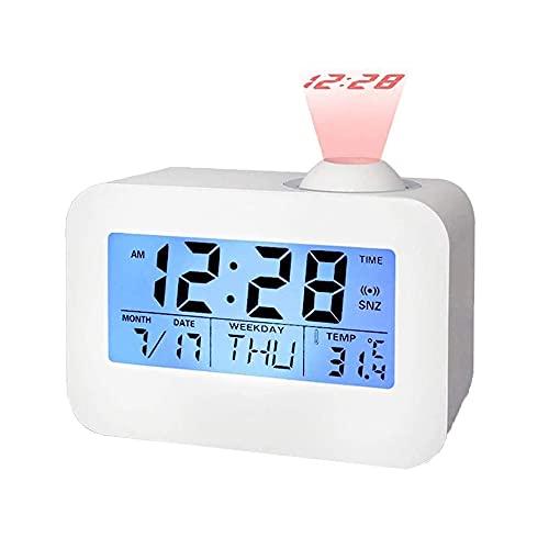 QYYL Despertador Proyector, Reloj Despertador Digital, Alarma Pantalla LED, Snooze,Termómetro Interior, FechaAjuste de Tiempo Manual