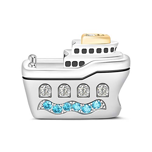 GNOCE Cruise Ship Charm Bead 925 Sterling Silver Guide Your Own Ship Charm with Aquamarine CZs Fit for Bracelet/Necklace Charm Gifts for Women Men