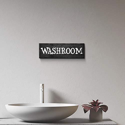"Bathroom Decor Washroom Sign Canvas Wall Art Kitchen Decor Kitchen Wall Art Bathroom Art (Washroom-B, 6"" x 17"")"
