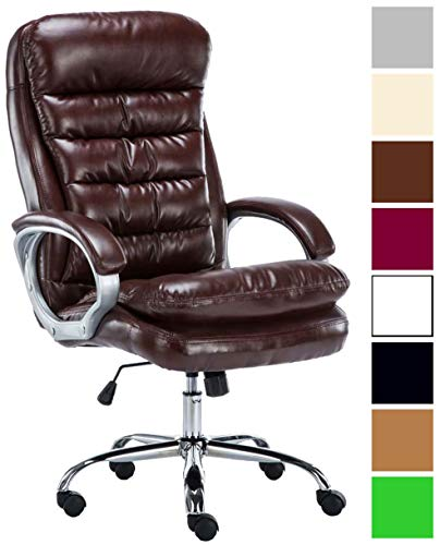 XXL Bürostuhl Vancouver Mit Kunstlederbezug I Drehstuhl Mit max. 235 KG Belastbarkeit I Chefsessel Mit Laufrollen, Farbe:Bordeauxrot