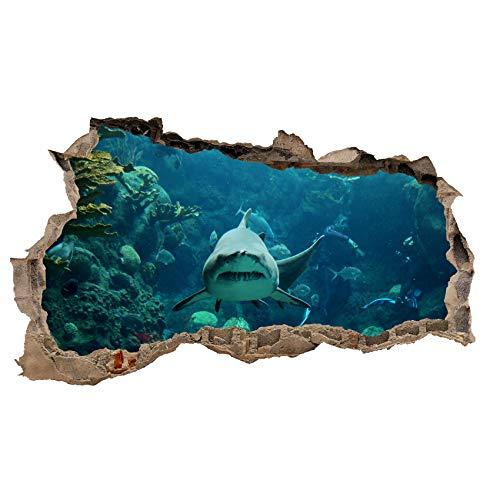 3D Wandtattoo Mauerloch Wandsticker Wandaufkleber Durchbruch Tiere selbstklebend H 60 x B 100 Schlafzimmer Wohnzimmer (WL40 Hai)