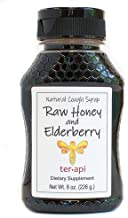 Terapi Raw Honey and Elderberry Natural Cough Syrup, 8 Ounces - Daily Immune Support with Antioxidants Supplement