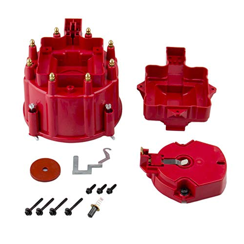 Bang4buck Red Male HEI Distributor Cap & Rotor Performance Replacement Fits for SBC BBC 305 350 454