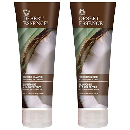 Desert Essence Coconut Shampoo - 8 Fl Ounce - Pack of 2 - Intense Moisturization - Healthy Hair - Restores Natural Luster - Coconut Oil - Jojoba Oil - Olive Oil - Cruelty-Free - Parabens-Free