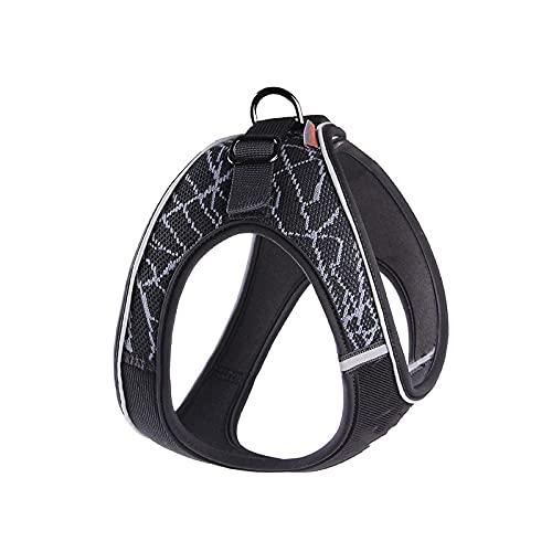 Arnés para perros Puppy Cat Harness Strap No Pull Dog Harness Adjustable Reflective Pet Collar Dog Walking Mesh Vest For Small Medium Dogs Arnés para gatos (Color : Gray, Size : M Chest (50-58cm))