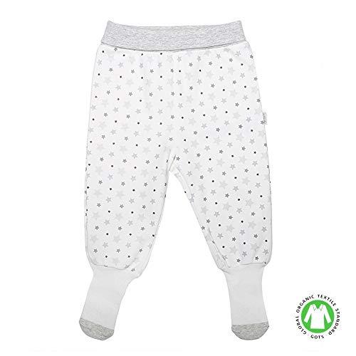 Sevira Kids - Pantalon bébé mixte avec pieds façon chaussettes - coton bio - Étoiles
