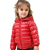 marc janie Girls Boys' Light Weight Down Jacket Kids Removable Hooded Packable Down Puffer Coat Winter Outerwear 3 Years Red
