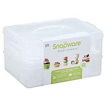 Snapware Snap  N Stack 2-Layer Cookie Cake Cupcake and Brownie Storage Carrier  BPA Free Plastic Holds Up to a Quarter-Sheet Cake
