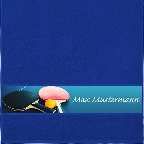 Handtuch mit Namen - personalisiert - Motiv Sport - Tischtennis - viele Farben & Motive - Dusch-Handtuch - royalblau - Größe 50x100 cm - persönliches Geschenk mit Wunsch-Motiv und Wunsch-Name