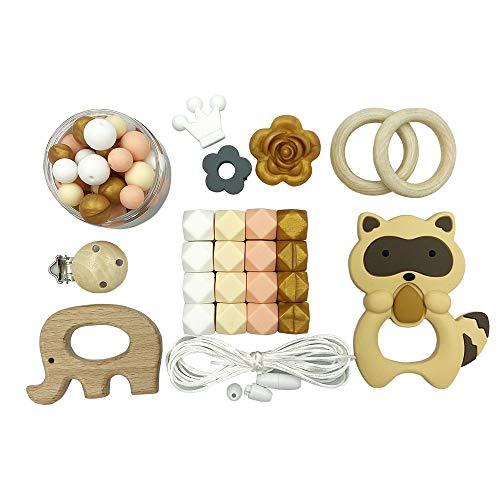 Kit de Perlas de Dentición de Silicona para Bebés Collar de Enfermería DIY Cadena de Chupete Masticar Pulsera Perlas Hexagonales Clip de Maniquí de Madera Anillo Mordedor