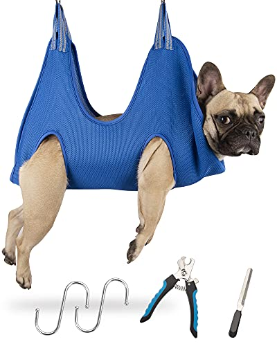 Kkiimatt 5 in 1 Pet Grooming Hammock, Breathable Dog Hammock Restraint Bag for Pet, Dog Grooming Helper for Bathing Washing Grooming and Trimming Nail (M, Blue)