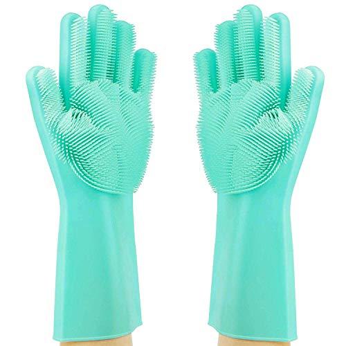 Product Image 8: MITALOO Magic Dishwashing Cleaning Sponge Gloves Reusable Silicone Brush Scrubber Gloves Heat Resistant for Dishwashing Kitchen Bathroom Cleaning Pet Hair Care Car Washing(Green)