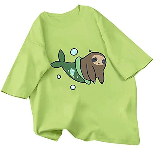 Camiseta Estampada para Mujer, Camiseta Informal Bonita Harajuku con Animales, Ropa De Calle De Manga Corta, Camiseta De Verano De Gran TamañO