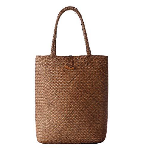 TOPBATHY Bolso de paja Bolso de hombro Bolso de hombro Bolso de playa de verano clásico vintage de viaje para mujeres y niñas (Khaki)