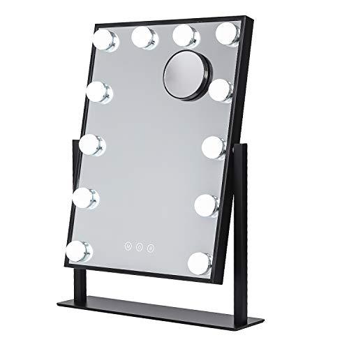 Hollywood Spiegel Hollywood Spiegel mit Licht,Beleuchteter Kosmetikspiegel mit 12 dimmbaren LED-Lampen Touch-Steuerung Tabletop 360°drehbar Hollywood Schminkspiegel