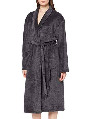 Calvin Klein Damen Fluffy Robe Pyjamaset, Schwarz, M-L