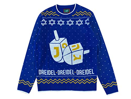 Tstars Hanukkah Ugly Christmas Sweater Dreidel Men Women Festive Holiday Sweater X-Large Multicolor
