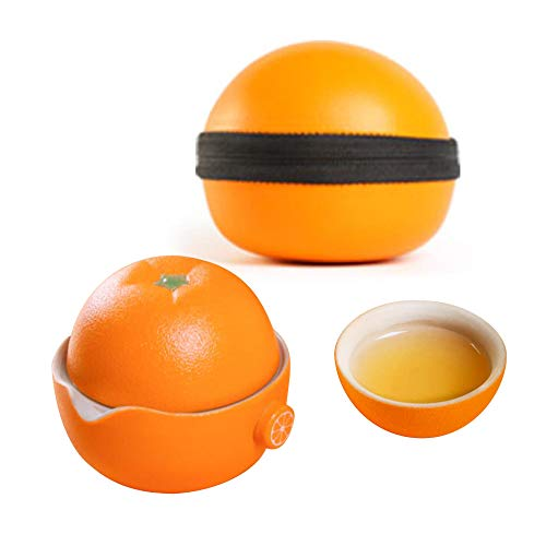 GRXXX Juego de té de cerámica, Taza de Oficina con Forma de Naranja de Ombligo Creativo, Conjunto de té de Viaje portátil con una Olla y Dos Tazas, Regalo de la Taza de Agua Personal