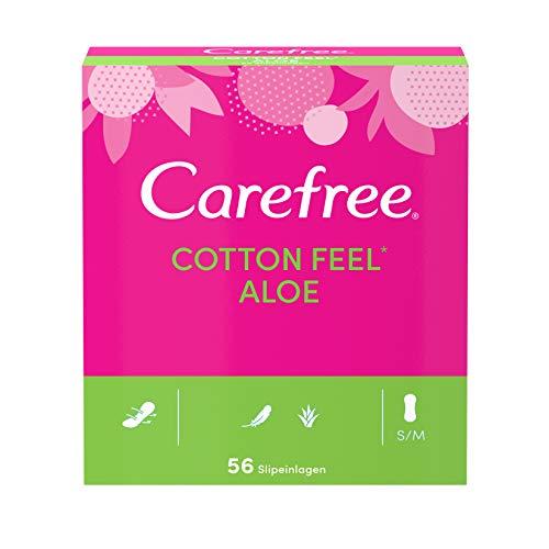 Carefree Slipeinlagen Cotton Feel Aloe, 100 ProzentluftdurchlässigeSlipeinlagenmitAloe Verafür ein langanhaltendes Frischegefühl inGröße: S/M (5 x 56 Stück)