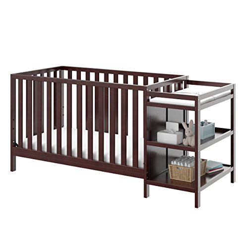 Storkcraft Pacific 4-in-1 Convertible Crib and Changer, Espresso Easily Converts to Toddler Bed, Day Bed or Full Bed, 3 Position Adjustable Height Mattress