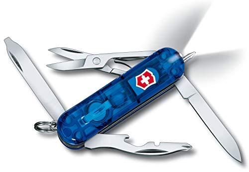 Victorinox Taschenmesser Midnite Manager (10 Funktionen, LED-Licht, Schere) blau transparent