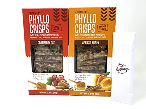 Phyllo Crisps Pastry Dough Sheets Crisp Snack Variety Bundle - Cranberry Oat Crisps Apricot Honey with kokobunch kit by Nu Bake | 2 Pk - 2.8 oz
