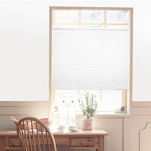 Landia Selbstklebende Plissee-Jalousien Halbe Verdunkelungsfenster Vorhänge für Badezimmer Küche Balkonschirme für Kaffee- / Bürofenstertür, weiß, 90x150cm