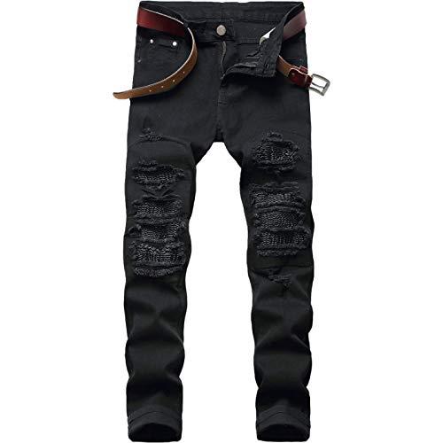 Beastle Pantalones Vaqueros para Hombre Nueva Personalidad Europea y Americana Pantalones Vaqueros Ajustados Rasgados para Motocicleta Pantalones de Mezclilla elásticos de Moda Informal 33W