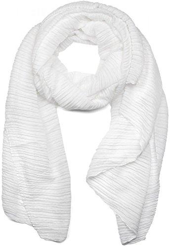 styleBREAKER gekreppter unifarbener Schal, Crash and Crinkle, Tuch, Plissee, Damen 01016107, Farbe:Weiß