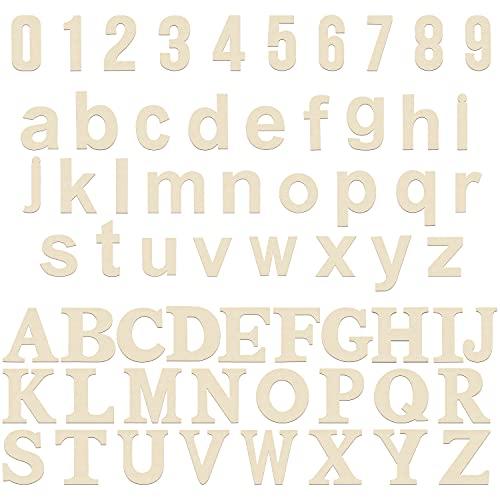 HANDI STITCH Lettere e Numeri in Legno Grezzo (124 Pezzi) - 52 Lettere in Legno Maiuscole e 52 Lettere Legno Minuscole (A-Z) - 20 Numeri Legno (0-9) - Lettere Numeri per Apprendimento, Decori ed Arte