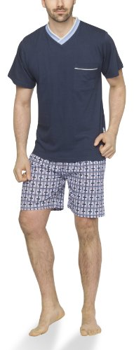 Moonline - Herren Shorty Schlafanzug kurz Pyjama mit karierter Hose- Gr. 46/48 (M), navy/hell blau/bordeaux