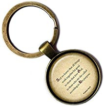 Romans 8:28 Love God According to his Purpose King James Version KJV Bible Bronze Keychain Keyring
