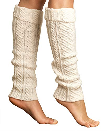 Lemon Women's Tulle Cable Leg Wrap with Cuff, White Sand, One Size