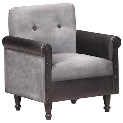 Tidyard Sillón para Salón Sillón Individual Sillón Relax de Cuero Auténtico y Lona Negro 70 x 54 x 73 cm