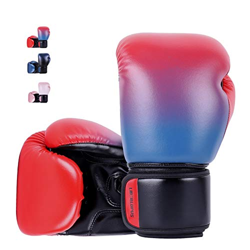 Liberlupus Youth Boxing Gloves for 10-18, Teens Boxing Gloves with Gradients, 2 Sizes, Teenagers Junior Kids Boxing Gloves for Punching Bag, Kickboxing, Muay Thai, MMA (Red Blue, 10 oz)