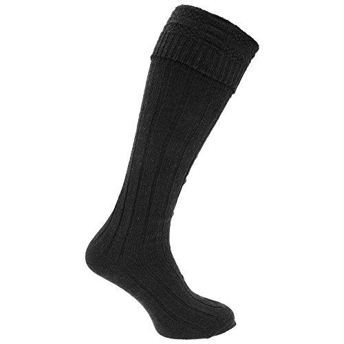 Universal Textiles Scottish Highland Wear Herren Kniestrümpfe mit Woll-Anteil, 1 Paar (39-45 EU) (Schwarz)