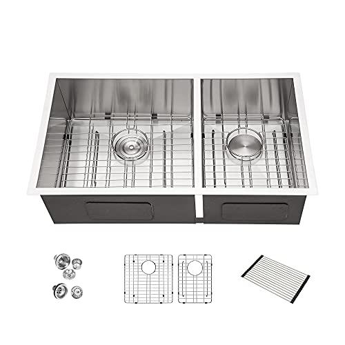 Double Bowl Sink Undermount - Couoko 33 Inch KItchen Sink Stainless Steel 18 Gauge Doubel Bowl 60/40 Kitchen Sink Basin