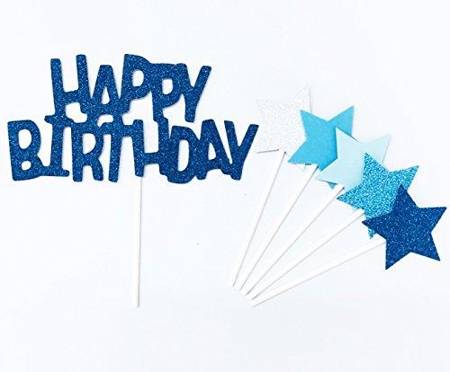 Lming Handmade 6 Counts Glitter Kuchen Dekorieren Toppers FÜR Kuchen Cupcake und Icecream - Happy Birthday Blue Set
