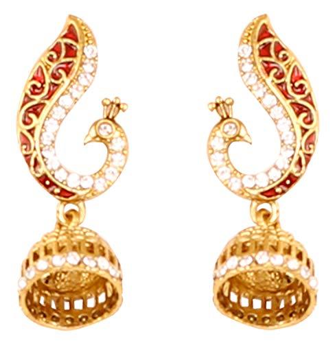 Touchstone Pendientes de joyas de pavo real de cristales esmaltados de bollywood indio para mujer Oro
