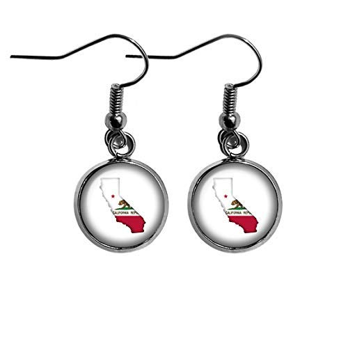 United States Silhouette State Flag California CA Surgical Steel Earrings