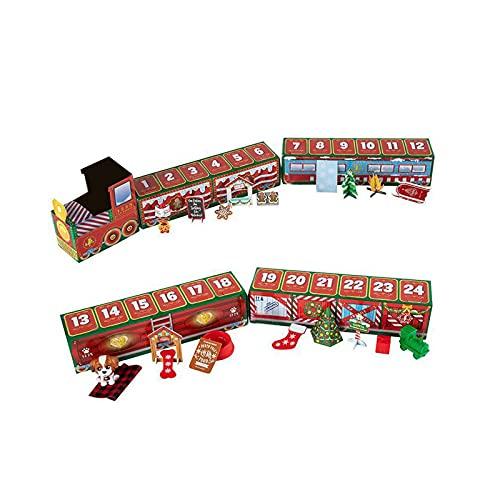 N\ A Caja ciega para 24 días de tren, calendario de Adviento de Navidad, caja de regalo de alce de Navidad, juguete de la atmósfera, decoración de Navidad de cuenta atrás (A)