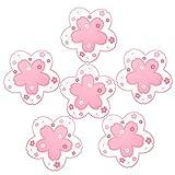 Conisy Untersetzer aus Silikon 6er Set,Rutschfestes hitzewiderstandsfähiges modern Deko Tassenuntersetzer mit Sakura Blumen Muster – 11,5 cm (pink)