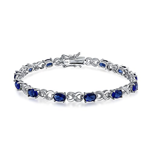 9CT Simulated Dark Blue Sapphire Cubic Zirconia AAA Oval CZ Symbol Infinity Milgrain Tennis Bracelet for Women Silver Plated