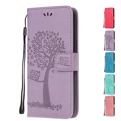 Funda Libro para Huawei P20 Lite Carcasa de Cuero PU Premium búho Arbol de la Vida Flip Wallet Case Cover con Tapa Teléfono Piel Tarjetero - Morado Claro Búho