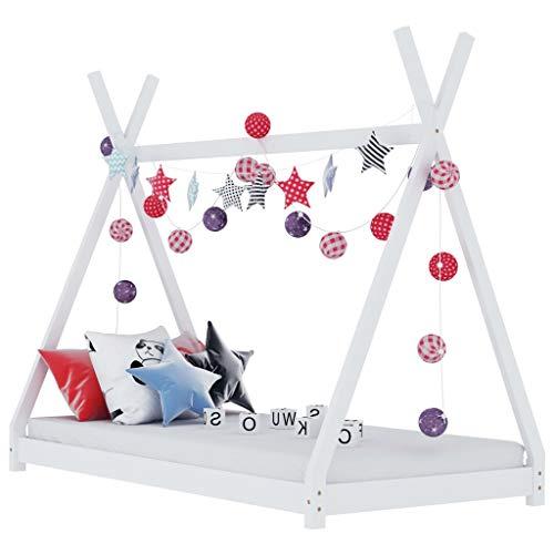 vidaXL Madera Maciza de Pino Estructura de Cama Infantil Mueble para Habitación Dormir Cuarto de Niños Blanco 80x160 cm