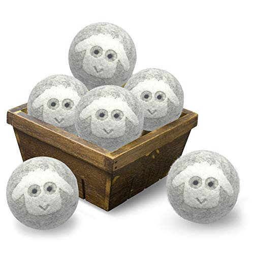"""Wool Dryer Balls 3"""" XL 100% New Zealand Wool Organic Reusable Natural Fabric Softener Hypoallergenic Baby Safe and Unscented Chemical Free to Reduce Wrinkles & Static Cling, Shorten Drying Time -6Pack"""