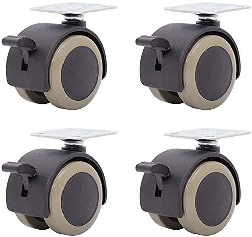 4X Ruedas para Muebles Ruedas Dobles Ø 40 mm -Placa de 38 x 38 mm - Ruedas TPR - Freno - Cojinete Liso - Capacidad de Carga de 120 kg - Rodillo de Transporte/Rodillo de Muebles/Rodillo de contenedor