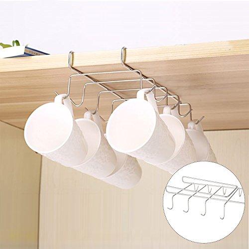 Soporte para tazas bajo estante, armario de café, cocina, armario de almacenamiento cromado, 10 ganchos, acero inoxidable