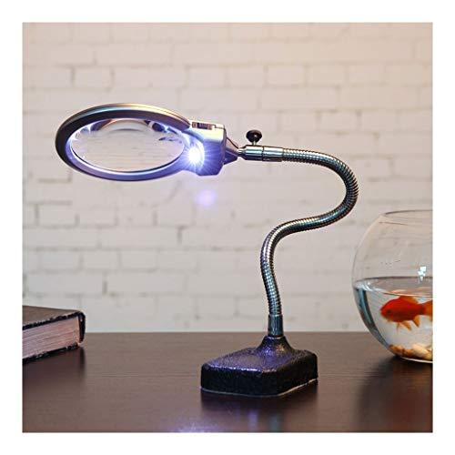 Hdj Desktop LED Lupe, Einstellbare Desktop-Lupe Mit Lampe, 10 X HD Alter Mann Liest Zeitung Elektrische Uhr Handy-Linie Wartung Handwerk Gravur